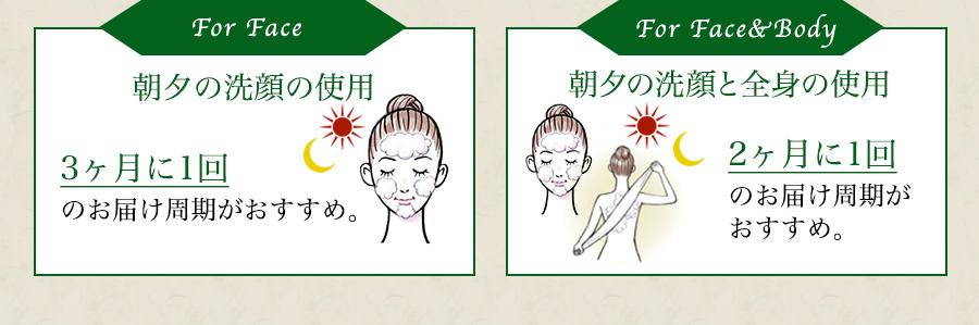 朝夕の洗顔の使用 3ヶ月に1回 のお届け周期がおすすめ。朝夕の洗顔と全身の使用 2ヶ月に1回 のお届け周期がおすすめ。